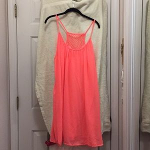 Summer casual sleeveless dress with lining coral